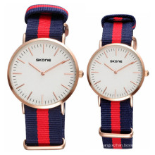 skone 6165 IP gold plating thin case color woven band watches