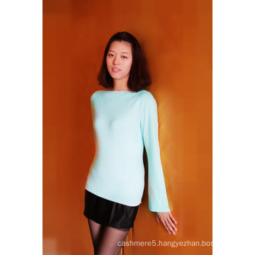 Ladies′ Cashmere & Cotton Pullover Solid Color