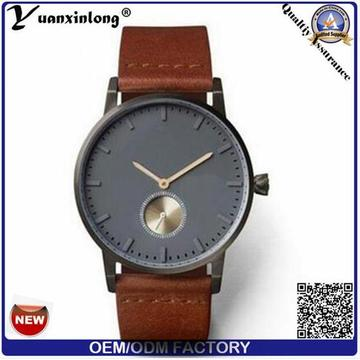 Men′s Sport Watch 2.5 Hands More Time Zone Genuine Leather Stainless Steel Back Japan Movt Brand Watches Wrist Mens