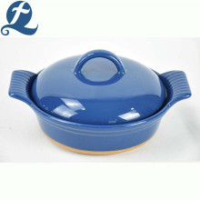 New arrivals solid color baking dish handle ceramic bakeware with lid