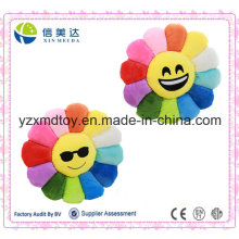 Creative New Design Plush Round Emoji Pillow with Colorful Flower