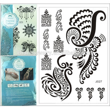1PC Fashion Flash Waterproof Tattoo Femmes Noir Henna Jewel Lace summer style j026