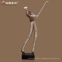 лучшее качество домашнего интерьера декоративные бронзовый цвет golfman скульптура
