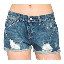 Women Vintage Distressed  Cotton Jeans Denim Shorts