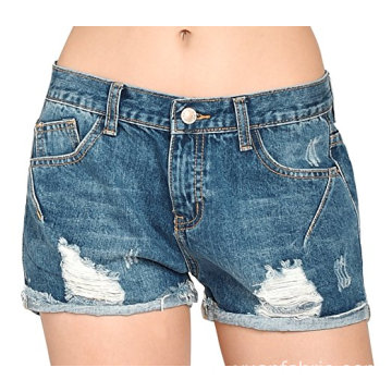 Frauen Vintage Distressed Baumwolle Jeans Denim Shorts