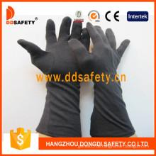 Schwarzer Baumwollhandschuh mit langer Manschette (DCH248)