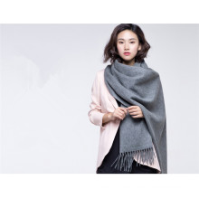 winter women wool cashmere blended plain knitted scarf