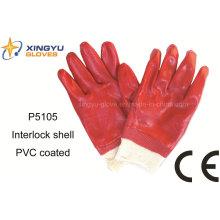 Хлопок Interlock ПВХ покрытием безопасности работы перчатки (P5105)