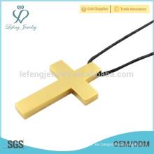 En stock Pendiente de oro de 24k, colgantes de moda de acero inoxidable, colgante de cruz de diseño único
