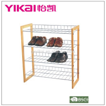 4 tiers chrome and wood shoe rack