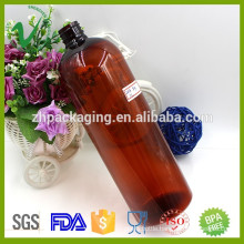 1000ml boston amber empty plastic bottle chemical with screw cap