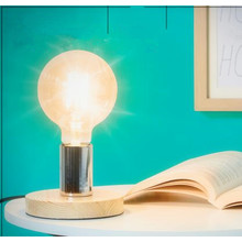 Pine Wooden Base E14 Reading Lamp