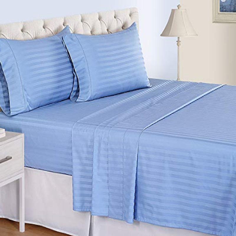 500TC Organic Cotton Satin Stripe Sheet