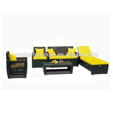 Sofá de móveis de vime ao ar livre com espreguiçadeira