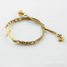 alibaba supplier,2014 fashion bracelet ,gold cross with yellow silk bracelet,bijouterie