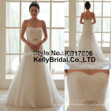 Alibaba Hot sale sexy lace sweetheart neckline off-shoulder sleeveless strapless wedding gown dress