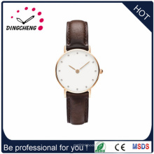 2015 logotipo personalizado super slim relógio de pulso / faixa de couro (dc-1421)