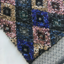 European Wonderful Geometry Sequins Embroidery Fabric