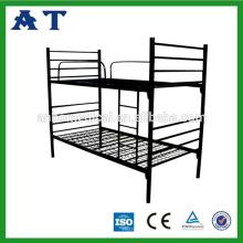 Студенты Популярная двухъярусная кровать Стальная односпальная кровать Двухместные двухъярусные кровати Двухъярусная кровать с безопасной лестницей и защитным барьером