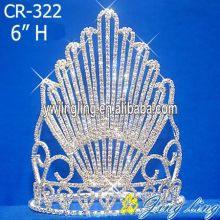 Fan Rhinestone Pageant Full Crown Round Diadem