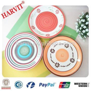 Placa de la cena de 10.5 pulgadas / plato de cena pintado a mano de cerámica