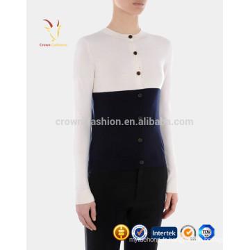 Button Front Block Casual Cardigan en cachemire pour les femmes
