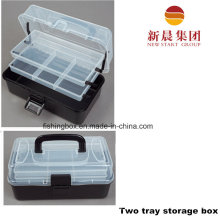 Корпус 2-лоток черный цвет и рыбалка ящик для хранения