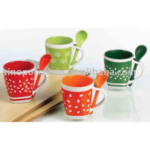 square tree and leaf mug with spoon for BS93090