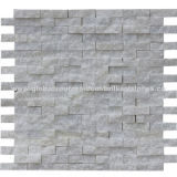 "Henan Crystal White Marble Mosaic, Natural Split Finish, 30x15mm for Chip, 12x12"" for Sheet, Meshed"