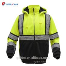ANSI Clase 3 Lime de alta visibilidad de seguridad con capucha FULL-ZIP Workwear sudaderas con forro de malla negro Birdseye