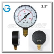 High Quality black steel lower entry plastic case with press in window pressure gauge