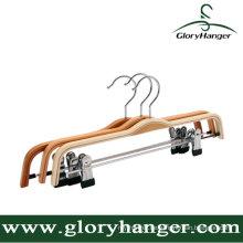 Gute Qualität Sperrholz Kleiderbügel mit zwei Clip / Matel Haken