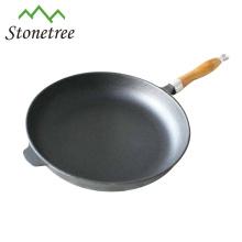 Frigideira do ferro fundido com punho de madeira, frigideira do ferro fundido com punho removível