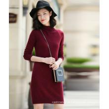 Damen Kleid aus reinem Kaschmir Strick Schneeflocken Idee aus Tweed Garn mit Rollkragen Langarm Slim Fit