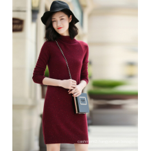 Ladies' dress pure cashmere knitting snowflakes idea of tweed yarn with turtleneck long sleeve slim fit