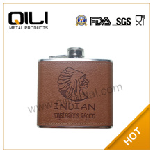 5oz leather wrapped stainless steel whisky brown hip flask engraved
