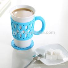 taza de porcelana de sublimación en blanco con soporte de silicona