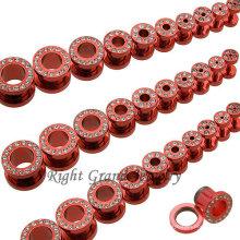 Сумасшедший Ювелирные Изделия Красный Корпус Анодированный Кристалл Винт На Плоти Туннеля