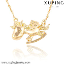 41455-xuping cooper plating gold fashion cheap cute horse shaped jewelry necklace
