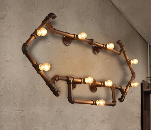 antique metal pipe lamp