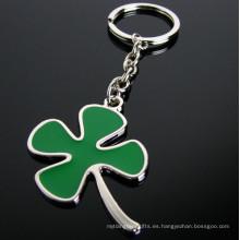 Promoción de regalo verde novedad esmalte hoja trébol afortunado llavero (f1336)