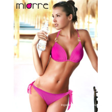 Miorre Women Neck Tie Swimwear Bikini Fuchsia Color
