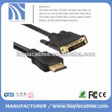 High quality 24+1 DVI TO HDMI Cord Male to Male cable for PC TV HDTV Black