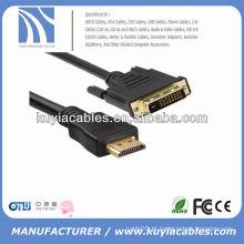 Alta qualidade 24 + 1 DVI para cabo HDMI Masculino para cabo masculino para PC TV HDTV Preto