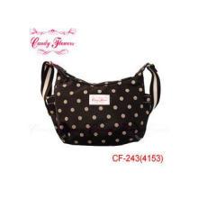 Brown White polka dot Vintage Shoulder Bags , Ladies messen