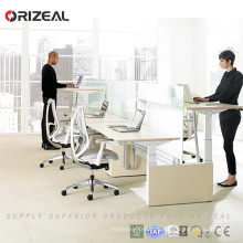 Orizeal Zweistufiger Computerarbeitsplatz für zwei Personen, höhenverstellbar, Arbeitstisch