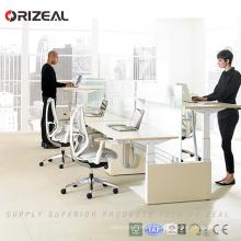 Orizeal Mesa de trabajo de altura regulable en dos etapas para mesa de trabajo para dos personas