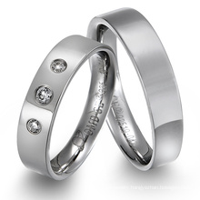 Wholesale Fashion New Design Diamond Titanium Wedding Band Ring for Men and Women with AAA+ Cubic Zircon