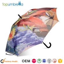 2018 nuevos productos calientes Impresión de transferencia térmica digital colorida Auto abrir paraguas comercial