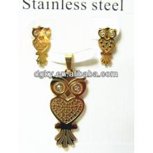 Pendiente de acero inoxidable colgante Set Conjunto de joyas de oro de búho